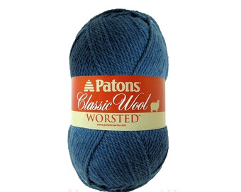 NEW DENIM Patons Classic Wool. Blue pure wool yarn. Blue Felting yarn.  100% Wool Yarn. Classic Patons Pure wool is great for felting. √