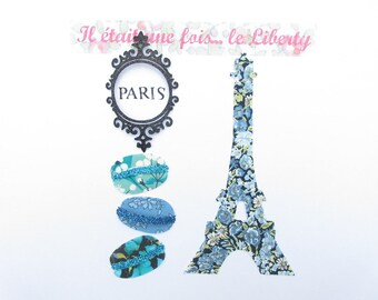 Applied fusing Eiffel Tower and liberty fabric and blue Chive macarons glitter collection patterns liberty iron on patch