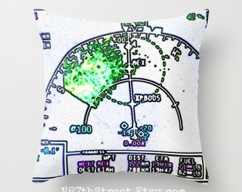 "IN FLIGHT 16"" X 16"" Pillow Cover. Photo Art by TMCdesigns. Airplane. Travel. Pilot. Map. Airlines. International. Bright. Funky. Teens."