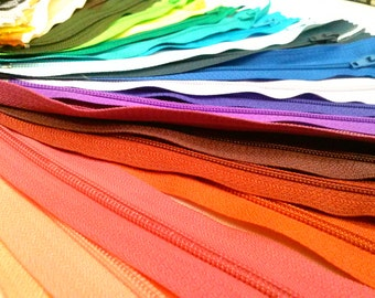 Nylon Zippers 9 Inch Coil #3 Closed Bottom Assorted Colors