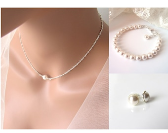 Single Pearl Choker, Floating Pearl Necklace SET, Sterling Silver, Maid of Honor Gift, Bridesmaid Jewlery Set, Maid of Honor Proposal