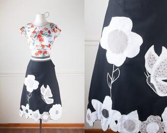 Black Wrap Skirt, Vintage 70s Skirt, Retro Wrap Around Skirt, High Waist Skirt, boho Skirt, Knee Length Skirt, Modest Skirt, Alfredo's Wife