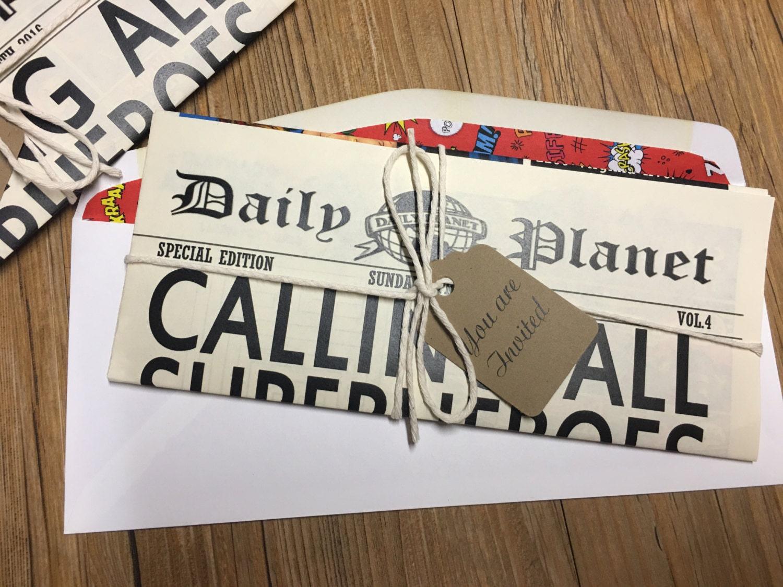 Newspaper Invitation Superhero Invitation Daily Planet