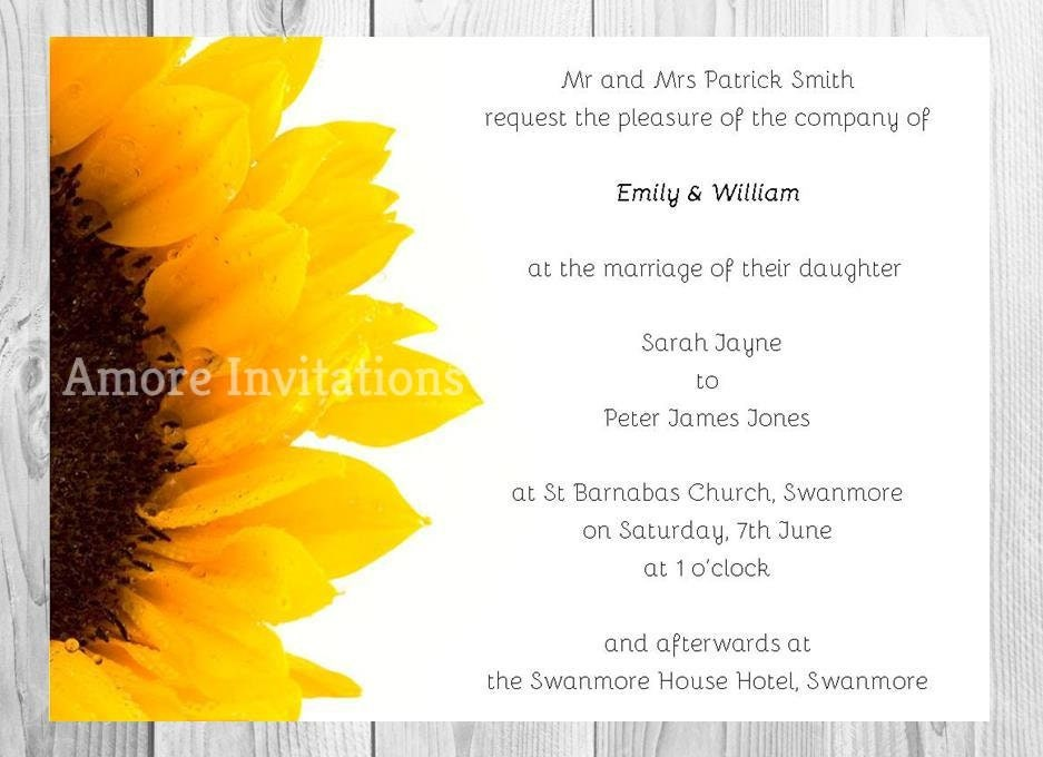 Digital Printable Sunflower Wedding Invitation Birthday Party