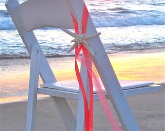 Beach Wedding Decor Starfish Chair Decoration with Satin & Sheer Ribbons - 24 Ribbon Choices - Beach Ceremony Beach Wedding Table Reception