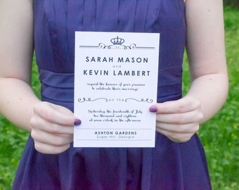 Kyleigh Wedding Invitation Suite, Royal Black and White Invites (Package of 25)