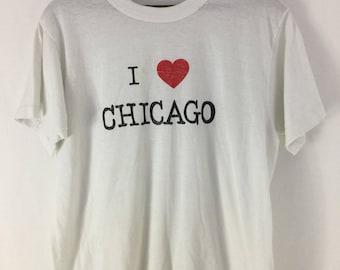 "Vintage 80s ""I Heart Chicago"" White T shirt screen stars tag check Measurements"