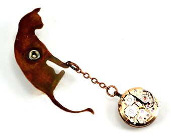 Steampunk Cat Brooch, Cat Pin, Cat Lady Brooch, Cat Lover Pin