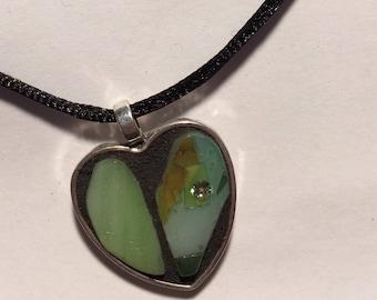 Green Heart Mosaic Pendant