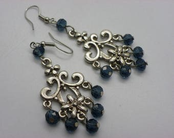 original earrings with brass frame and Denim Blue Crystal beads