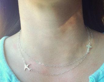 Sideways Cross Necklace, Sideways Swallow Necklace, Sparrow Necklace,Layered Necklace, Cross Necklace, Swallow