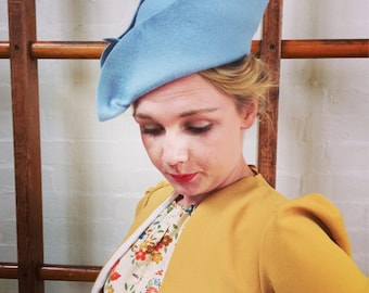 Vintage 1930s 1940s hollywood glamour inspired powder blue wool felt pirate hat - handmade one of a kind