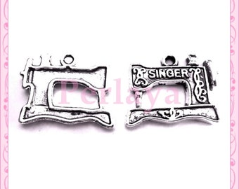 Lot 15 charms sewing machine silver REF1350X3