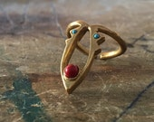Red Coral and turquoise gold ring made in solid bronze