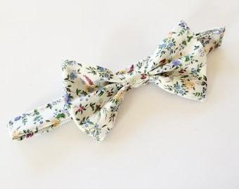 Schiffe sofort, Hochzeit Fliege, Liberty of London, blau floral Fliege, Herren Bogen, Freiheit Druck Krawatte