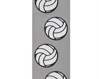 """2-1/4"""" Grey Volleyball Grosgrain Ribbon - Made in USA"""