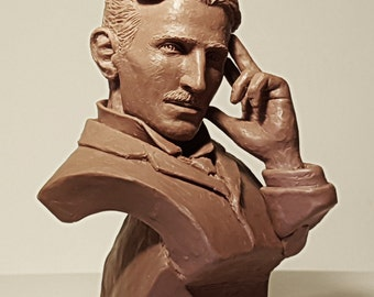 Nikola Tesla bust - sculpture ( Никола Тесла - Бюст ) - Realistic portrait. Serbian - American physicist, engineer and inventor - Steampunk