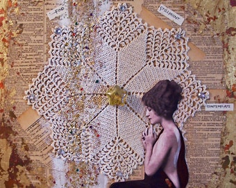 Find Your One Stillpoint - mixed media collage