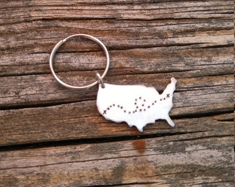 Long Distance Relationship Keychain | America Keychain | Map Keychain | Personalized USA Keychain | Custom Keychain | Relationship Keychain