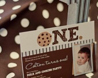 Milk and Cookies Invitation | Milk & Cookies Invite - blue and brown | digital printable