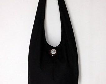Handbags Canvas Bag Shoulder bag Sling bag Hobo bag Boho  bag Messenger bag Tote bag Crossbody Purse  Elephant button  Black