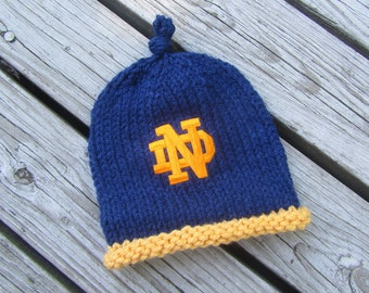NOTRE DAME Baby Hat, Notre Dame Baby, Fighting Irish Baby Hat, Notre Dame Hand Knitted Baby Hat, Indiana, Notre Dame