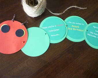 Hungry Caterpillar Birthday Invitation - Set of 10