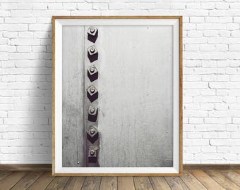 "black and white photography, large art, printable art, instant download printable art, digital download, industrial wall art -""Rivets No. 1"""