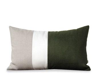 Olive Colorblock Pillow Cover (12x20) - Modern Home Decor - Fall Trends - Cypress Green - Decorative Pillows - Linen Pillow