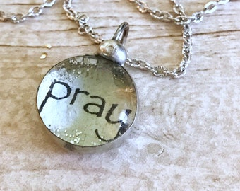 PRAY Necklace, Silver Soldered Glass Bubble Charm Necklace, Soldered Glass Necklace, Religious Gift, Inspirational Jewelry, Kyleemae Designs