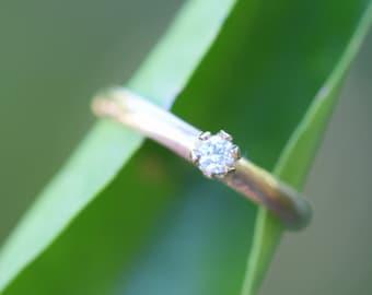 DIAMOND engagement ring, simple minimalist, white diamond ring, conflict free diamond yellow gold ring, size 4 5 6 7 8 9 10, 9K 10K 14K 18K