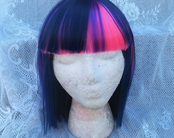 Twilight Sparkle Wig,  MLP Cosplay, Purple and Pink Wig, Dark Purple, Bob, Shoulder Length Costume,  My Little Pony , my little pony cosplay