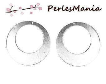 1 pendant hoop disc metal color silver bright 50 mm (S1189048)