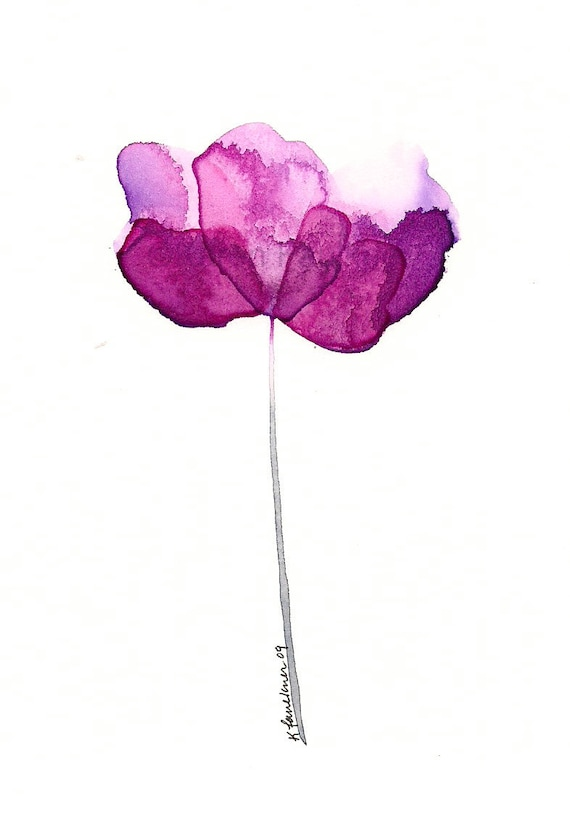 "Watercolor flower art print: ""Purple Petals"""