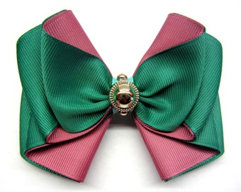 Emerald hair bow clip Green pink bow Boutique hair bow Green toddler clip Girls hairbows Hair bow for women barrette Women bow clip girls