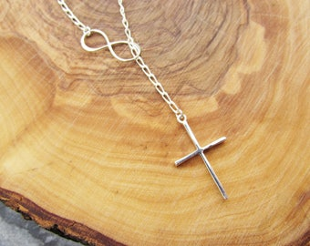 Cross infinity necklace, sterling silver, lariat