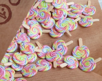 Rainbow Lollipop Charms 10 pcs
