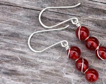Red Carnelian Sterling Silver Bead Bar Earrings