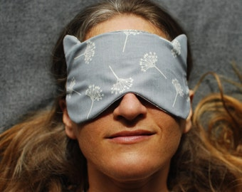 Eye Mask - Sleep Mask - Cat Mask - Gray - Organic Cotton - Eco Friendly - Dandelion Seed Print