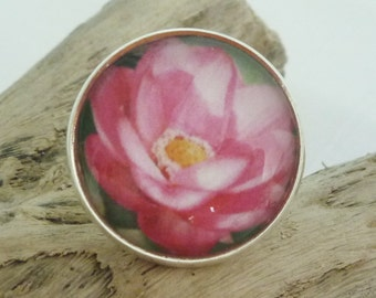 Indian Lotus Ring (Silver Plated) Glass Dome Cabochon, Flowers, Australian Made Jewellery / Jewelry