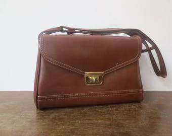 Vintage '60s/'70s Faux Leather Chunky Shoulder Bag w/ Tons of Room, Pockets, And Adjustable Strap!