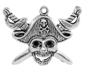 Pendant pirate skull charm 45 mm silver plated