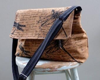 Brown Messenger Bag - Dragonflies - Adjustable Strap - Hand Printed