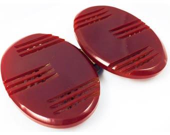 Art Deco Red Bakelite Buckle, Pierced Bakelite Oval Art Deco buckle