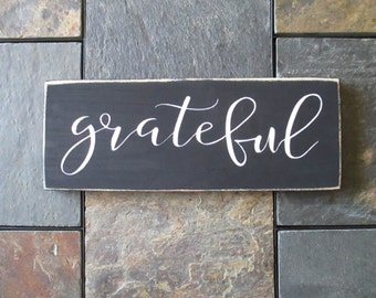 Grateful Wood Sign, Thanksgiving Decor, Fall and Autumn Wood Sign, Farmhouse Decor, Distressed Grateful Sign, Holiday Decor, Fall Sign