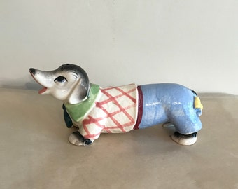 Unique Salt & Pepper Dog All In One Anthropomorphic Puppy in Man's Clothing Vintage Ceramic Pup Shaker Made in Japan