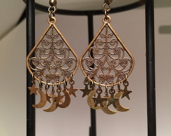 Antique Brass Moon and Stars Earrings
