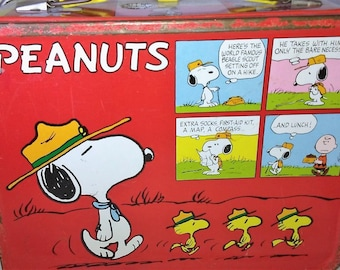 Antique Peanuts Charlie Brown Snoopy Lucy Metal Lunchbox with Thermos & Cup 1965