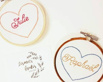 Circle embroidery name in a heart