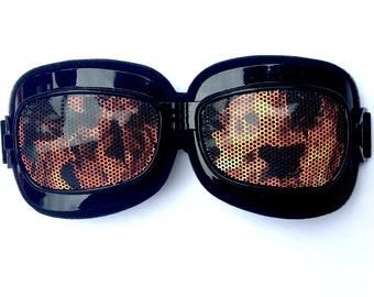 fire flame graphic burner biker patterned scooter style goggles